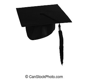 Student hat on white, with clipping path