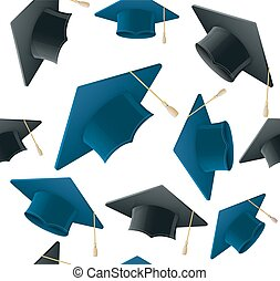 Student Hat Pattern Background. Vector