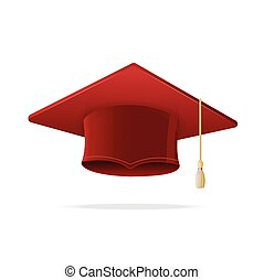 Student Hat Red Graduated. Vector