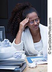 Student having a terrible headache