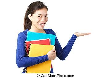 student, het tonen, lege, hand