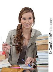 Student hitting the books