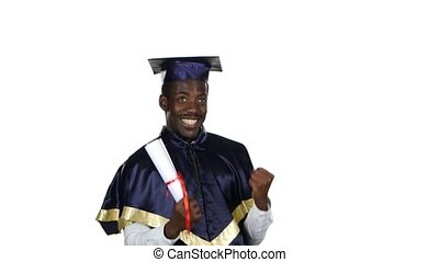 Student holding a diploma in one hand and the second shows a sign of joy