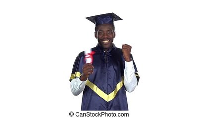 Student holding a diploma. Slow motion. White - Black man...