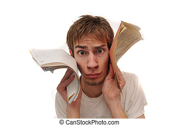 Student holding blank lined paper to face