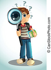 Student holding books and magnifying glass - A vector...