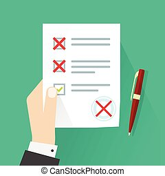 Student holding exam paper form with failed assessment vector illustration