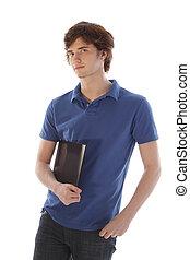 Student holding folder