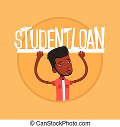 Student holding sign of student loan.