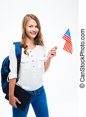 Student holding USA flag