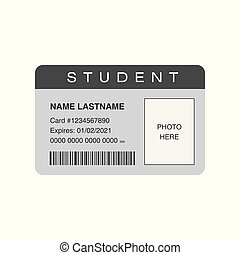Student ID card with blank space for a photo. Vector ...