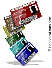 Student ID cards - 3d illustration of a group of student ID...