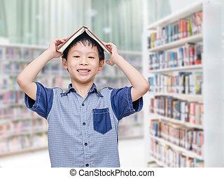 student, in, bibliotheek