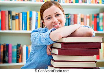 student, in, een, bibliotheek