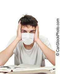 Student in Flu Mask
