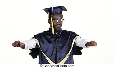 Student in glasses showing thumbs down. White. Close up