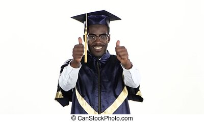 Student in glasses showing thumbs. White. Close up
