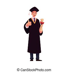 Student in graduation gown and cap with diploma, thumb up