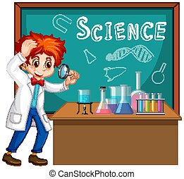 Student in science classroom working with tools