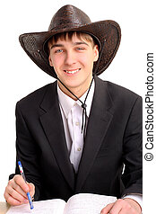 student in stetson hat