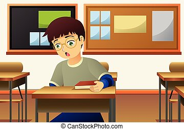 Student in The Classroom Illustration