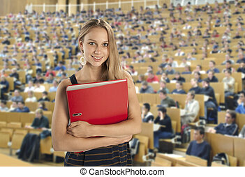 Student in the lecture hall