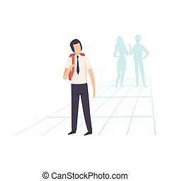 Student in Uniform Standing with Backpack, School Friends Gossiping Behind Him Vector Illustration