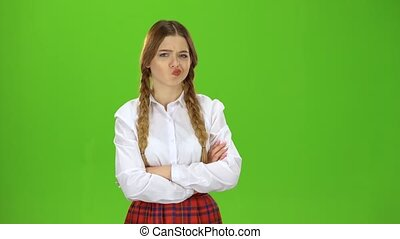 Student is offended and sad. Green Screen - Student with two...