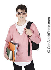 student isolated in white background