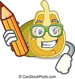 Student jackfruit character cartoon style vector...