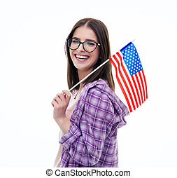 student, jonge, ons vlag, vrouwlijk, vasthouden, vrolijke