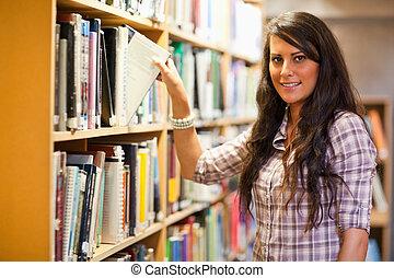 student, kies, een, boek