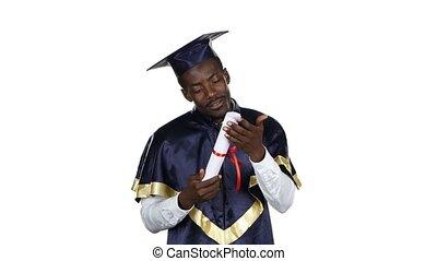 Student kissing diploma. White