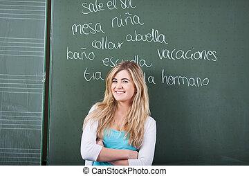 student, klasse, sprog, kvindelig, unge