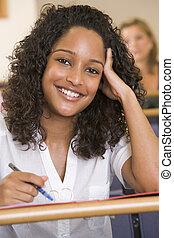 student, klassikaal, aantekeningen nemd, (selective, focus)