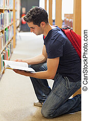 Student kneeling by bookshelf looking at book - Student...