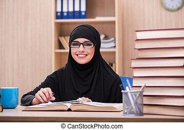 student, kobieta, egzaminy, muslim, przygotowując
