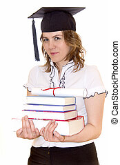 student, książki, młody, skala, dyplom