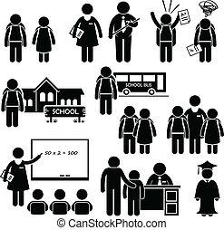 student, lärare, rektor, skola