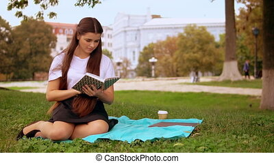 student learning in park - young woman sitting on the grass...