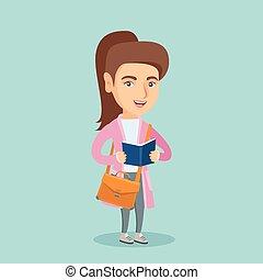 student lezen, jonge, book., kaukasisch
