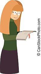 student, lezen, leraar, boek, vrouwlijk, het glimlachen, of