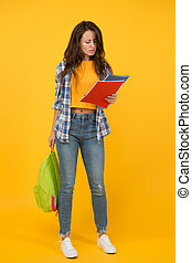 Student life. School girl with backpack. Woman adult student. Final exam and graduation. Stylish woman studying. Dedicated to studying. College and university education. Test result. Casual student