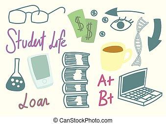 Student life set of doodles