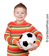 Student little child with soccer ball