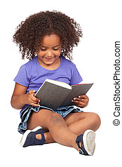 Student little girl reading with a book isolated over white