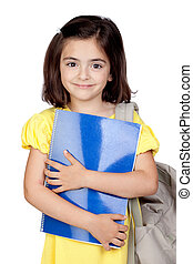 Student little girl with a backpack isolated on a over white...