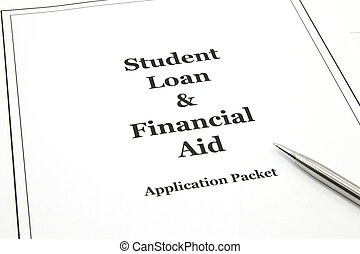 A student loan and financial aid college application packet with a pen ready to start.