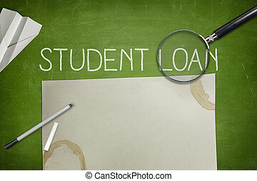 Student loan concept on blackboard