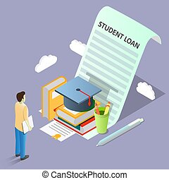 Student loan concept vector isometric illustration. Student ...